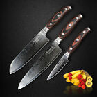 3 Pcs Damascus Chef Knives Japanese Wooden Handle Kitchen Knives Set Cutter Gift