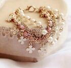 Fashion Multilayer Clover Flower Bracelet Pearl Chain Bangle Waistband Jewelry