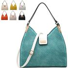 Ladies Stylish Faux Leather Laser Cut Designer Shoulder Bag Tote Handbag M3508-2