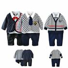 Baby Toddler Boy Wedding Tuxedo Birthday Party Smart Romper Clothes Outfit Suit