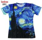 New Fashion Tees 3D Classic Oil Vincent Van Gogh Starry Night Vintage T Shirts