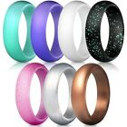 7 Pcs Silicone Wedding Ring Band Rubber Men Women Flexible Gifts Comfortable US <br/> ⭐US Stock⭐First Class Delivery⭐Fast Shipping