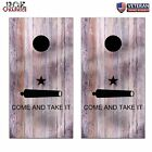 Come and Take it Texas Wood Look Cornhole Board Bag Toss Wrap Set- patriotic