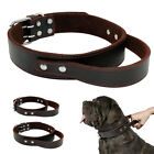 Genuine Leather Dog Collar for Training Dogs Heavy Duty Dog Collar With Handle