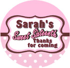40mm A4 sheet of 24 Personalised Birthday Stickers Labels Sweet Sixteenth 16th