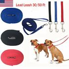 Dog Training Lead Leash 30 or 50 ft obedience Recall Lunge Foot Feet LONG Nylon