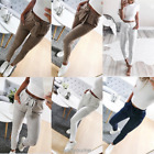 Womens High Waist Paperbag Cigaratte Striped Trousers Ladies Straight Leg Pants