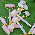 Natural Rose Quartz Facial Jade STone Roller Beauty Massage Tool Face Massager