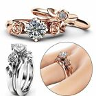 Elegant Women 925 Silver Plated Rhinestone Flower Ring Set Wedding Jewelry Sz6-9