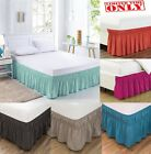 "Elastic Bed Skirt Cover Dust Ruffle Wrap 14"" Drop Twin Full Queen King 20 Colors image"