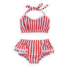 UK Toddler Baby Girls Striped Tankini Swimwear Swimsuit Bikini Set Bathing Suit