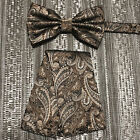 Prom Men Paisley Pre-Tied Butterfly Bow Tie And Pocket Sqaure Hanky Set Wedding
