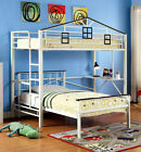 Fortress Youth House Design Metal Twin Loft Bed in Chocolate  White Bunk Bed