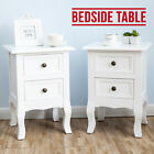 Pair of White Bedside Tables Cabinets Nightstand Storage with 2 Drawers Bedroom