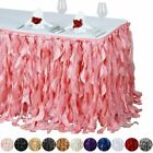 "17 feet x 29"" Taffeta Curly Banquet TABLE SKIRT Party Wedding Booth Decorations $59.08 USD on eBay"
