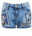 Womens Distressed Graphic Photo Denim Shorts Ladies Short Size 6 8 10 12 14 Blue