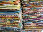 10 Pieces Mix Lot of Indian Tribal Kantha Quilts Old Sari Whole Sale Blanket image
