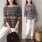 Vintage Ethnic Womens Floral Printed 3/4 Sleeve Casual Tops Tee Shirt Blouse Hot