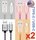 2x Braided Metal USB 3.1 Type-C Adapter Cable for LG G7 G6 V20 V30 ONEPLUS 5T 5
