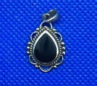 Genuine .925 Sterling Silver Antiqued Onyx Tear Pendant W/ Roped Scalloped Bead