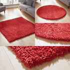 MODERN MEDIUM TO LARGE BRIGHT RED SHAGGY RUG THICK 5CM PILE WAREHOUSE CLEARANCE