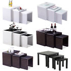 Black/white High Gloss Nest Of 3 Coffee Table Mdf/mdf+glass Top Side End Tables