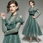 2018 womens stylish temperament Ruffles lace hollow out A-line Dress lace long
