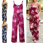 UK Womens Boho Floral Holiday Wide Leg Strappy Playsuit Jumpsuit Plus Size 6-20