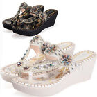 Womens Rhinestones Wedge Flip Flop Platform Heel Boho Sandals Thong Shoes 35-40