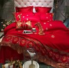 Gold Red Egyptian Cotton Unique Embroidered Duvet Cover Impe