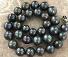 tunning 13-15mm tahitian black pearl necklace 18inch 925s