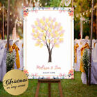 Personalised Family or Wedding Guest Tree Finger Print Floral & Rose Gold Design