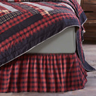 Cumberland Black Red Plaid Country Bedding Cotton Gathered Bed Skirt