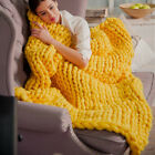 120*150cm Chunky Wool Yarn Bulky Knitted Roving Crochet Blanket Bedding Throw image