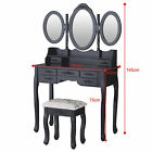 Vanity Black Dressing Table and Stool Makeup Desk with Drawers Bedroom Furniture