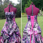 Camo Bridal Wedding Dresses Long Camouflage Mossy Oak Formal Gown Lace up Custom
