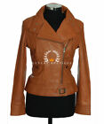 Tara Tan Ladies Retro Casual Designer Real Waxed Lambskin Leather Fashion Jacket