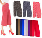 Women Ladies 3/4 Length Short Palazzo Trousers causal wide leg culottes  pants