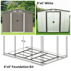 8'x6' Outdoor Garden Storage Shed Steel Garage Tools Utility Foundation Kit Lawn