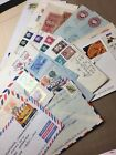 Used Foreign Postage on Air Mail Envelopes mail art 25 pieces collage