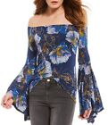 NEW Free People Birds of Paradise Off Shoulder  Bell Sleeve Top  Blue  Combo