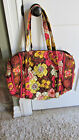 VERA BRADLAY BRIGHT YELLOW, BURGUNDY, CREAM & PINKS - WEEKEND DUFFEL/ BEACH BAG