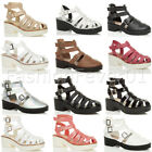 WOMENS LADIES BLOCK CHUNKY STRAPPY PLATFORM CUT OUT BUCKLE ANKLE SANDALS SHOES