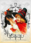 Little Witch Holds Black Cat Quilt Block Multi Sizes FrEE ShiP WoRld WiDE (H2