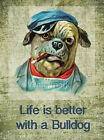 Life Is Better With Bulldog Crazy Quilt Block Multi Szs FrEE ShiPPinG WoRld WiDE