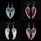 Angel Wing Dangle Earrings Crystal Rhinestone Fashion Bridal Party Jewelry New image
