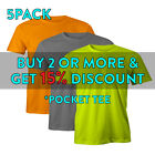 5 PACK MENS HEAVYWEIGHT POCKET SHORT SLEEVE T SHIRT CASUAL WORK SHIRTS ACTIVE image
