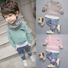 2PCS Toddler Baby Kids Girl Boy Casual Tops Shirt+Pants Outfit Tracksuit Clothes