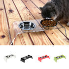 Elevated Dog and Cat Pet Feeder Station, Strong Stand, Two Stainless Steel Bowls
