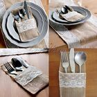 10/50/100 Burlap Cutlery Holder Pouch Hessian Lace Pocket Tableware Storage Bag